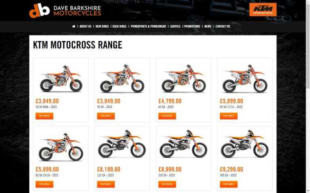 See the KTM Motocross Range at Dave Barkshire