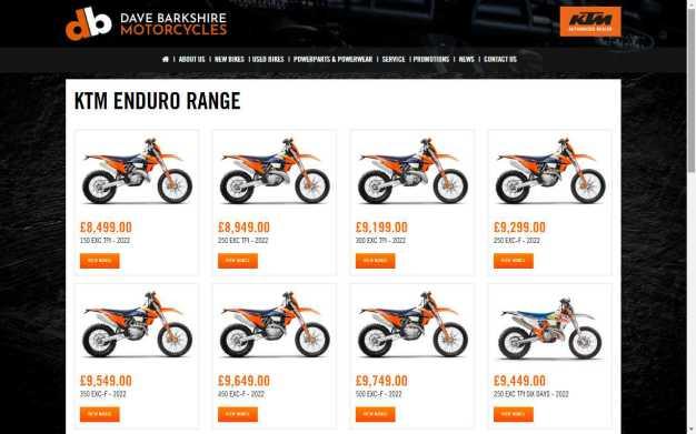 See the KTM Enduro 2021 Range at Dave Barkshire