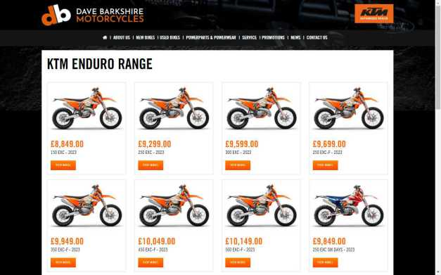 KTM Enduro Bikes 2020 at Dave Barkshire