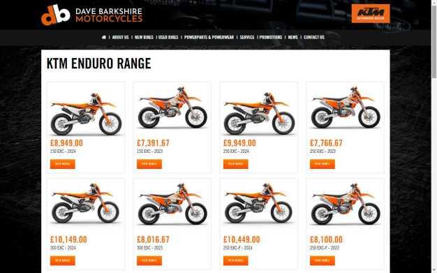 See the KTM Enduro 2022 Range at Dave Barkshire