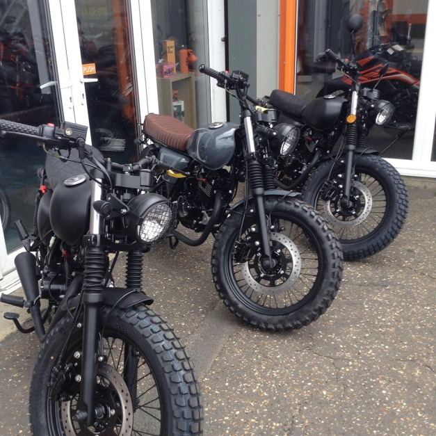 Mutt Motorcycles outside the Showroom