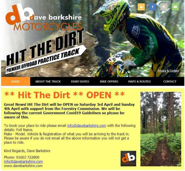 Great News! Hit The Dirt will be OPEN on Saturday 3rd and Sunday 4th April