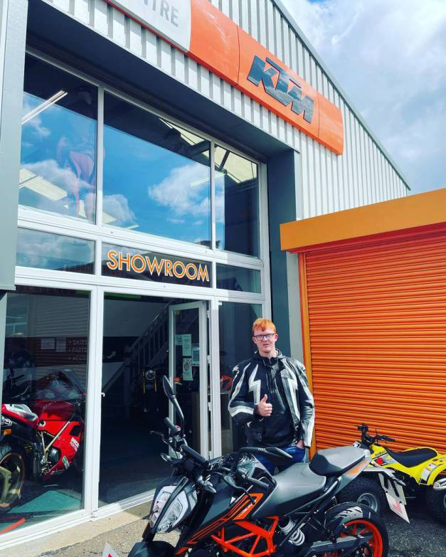 Collection day for Ben and his brand new KTM Duke 125