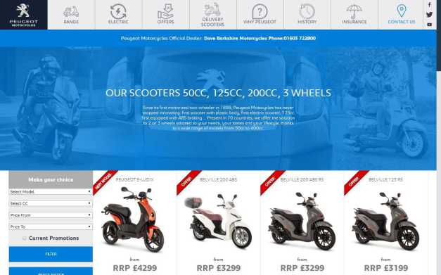 Our current Peugeot Scooter Range at Dave Barkshire Motorcycles
